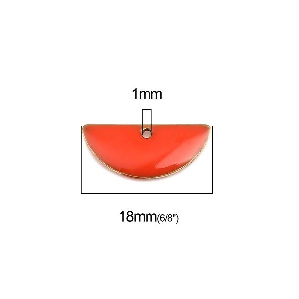 PS110238227 PAX 5 sequins médaillons résine style émaillés Biface Demi Cercle Orange 18 par 8mm - Photo n°2