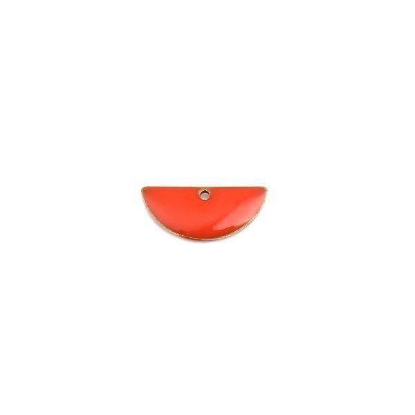 PS110238227 PAX 5 sequins médaillons résine style émaillés Biface Demi Cercle Orange 18 par 8mm - Photo n°1