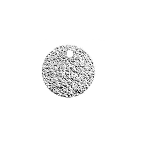 PS11111005 PAX 5 pendentifs, breloque medaillon martelée stardust 12mm ARGENT VIF qualité cuivre - Photo n°1
