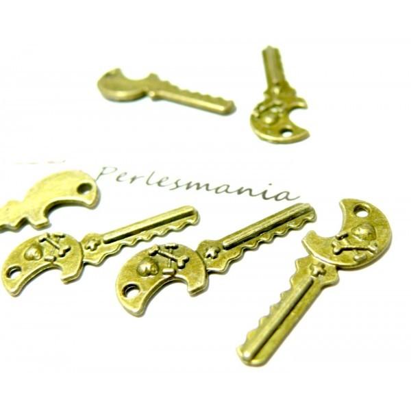 Lot de 20 Supports de pendentif clé tête de mort ref 2D1226 métal couleur Bronze - Photo n°1