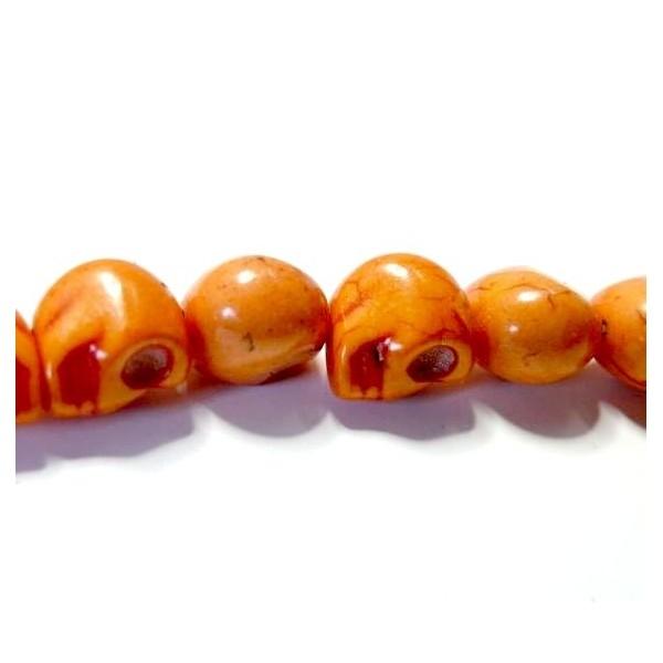 1 fil de 30 petits Crane 3D 10 par 12mm Coloris Orange - Photo n°1