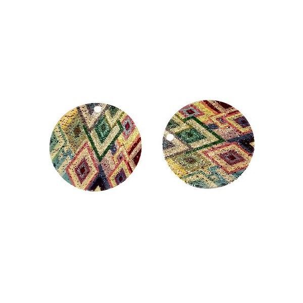 S110095611 PAX 5 pendentifs breloques stardust Ronde 20mm Losanges Cuivre coloris Doré - Photo n°2