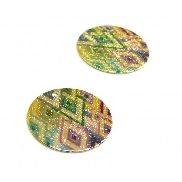 S110095611 PAX 5 pendentifs breloques stardust Ronde 20mm Losanges Cuivre coloris Doré - Photo n°1