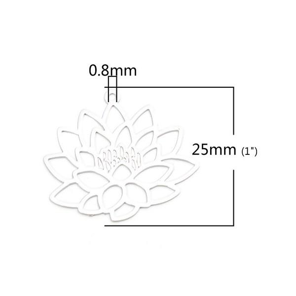 PS110206605 PAX 5 Estampes pendentif filigrane Fleur de Lotus Yoga couleur Argent Platine de 25mm - Photo n°2