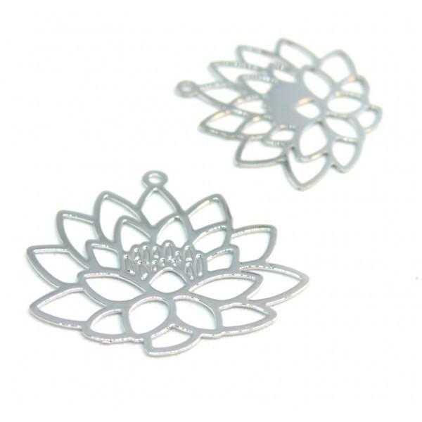 PS110206605 PAX 5 Estampes pendentif filigrane Fleur de Lotus Yoga couleur Argent Platine de 25mm - Photo n°1