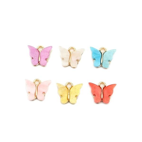 PS110257988 PAX 5 pendentifs petits Papillon Acrylique Blanc 15 mm metal doré - Photo n°3