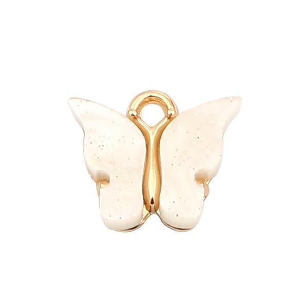 PS110257988 PAX 5 pendentifs petits Papillon Acrylique Blanc 15 mm metal doré - Photo n°1