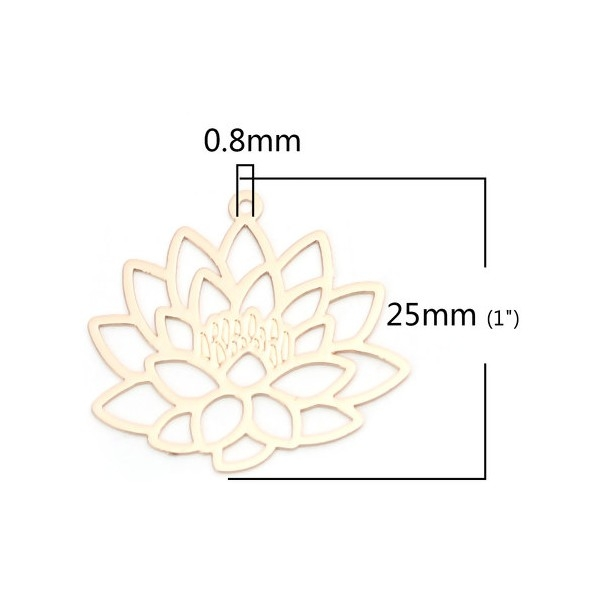 PS110206604 PAX 5 Estampes pendentif filigrane Fleur de Lotus Yoga couleur Doré de 25mm - Photo n°2