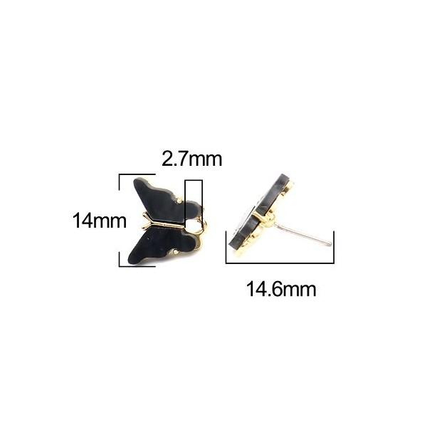 PS11649730 PAX 4 Boucles d'oreille clou puce Papillon 14 mm coloris Noir - Photo n°2