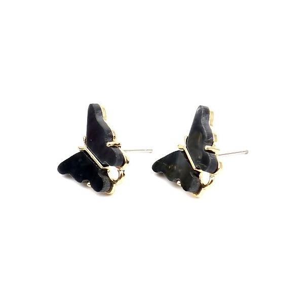 PS11649730 PAX 4 Boucles d'oreille clou puce Papillon 14 mm coloris Noir - Photo n°1