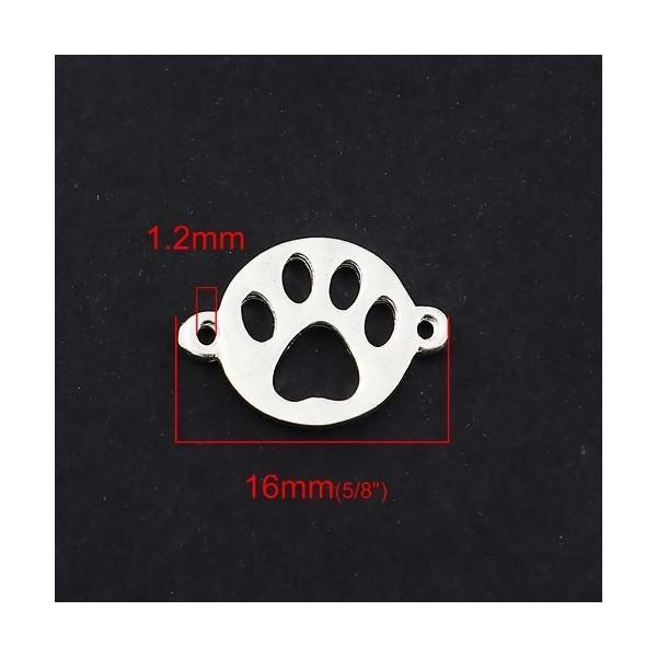 PS110122963 PAX 10 pendentifs breloque Empreinte de chien métal couleur Argent Vif - Photo n°2