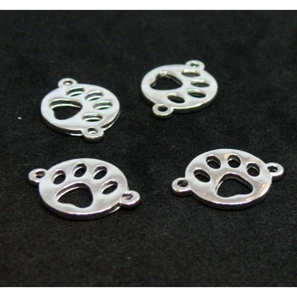PS110122963 PAX 10 pendentifs breloque Empreinte de chien métal couleur Argent Vif - Photo n°1
