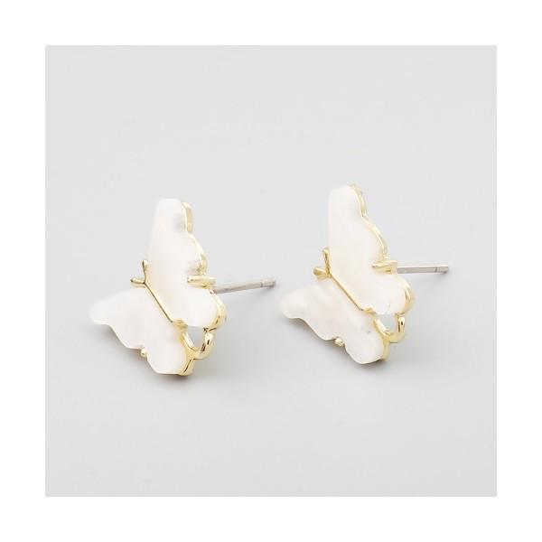 PS11649731 PAX 4 Boucles d'oreille clou puce Papillon 14 mm coloris Blanc - Photo n°2