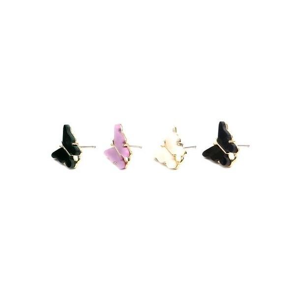 PS11649731 PAX 4 Boucles d'oreille clou puce Papillon 14 mm coloris Blanc - Photo n°3