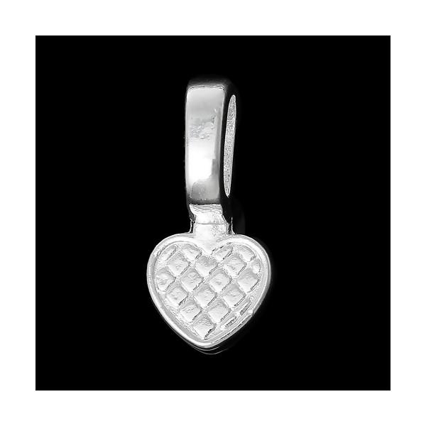 PS1161812 PAX 25 Belières à Coller forme Coeur metal, attache pendentif couleur Argent Vif - Photo n°2