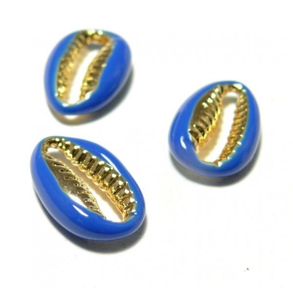 2 perles interclalaires émaillés Cauri résine emaille Bleu sur metal doré 14 par 4,5mm - Photo n°1