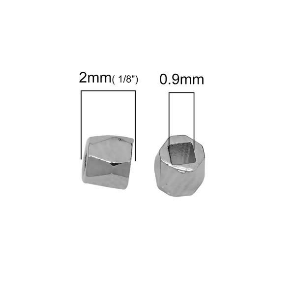 PS110108646 PAX 50 perles intercalaires Polygone Facetté 2mm cuivre couleur Argent Platine - Photo n°2
