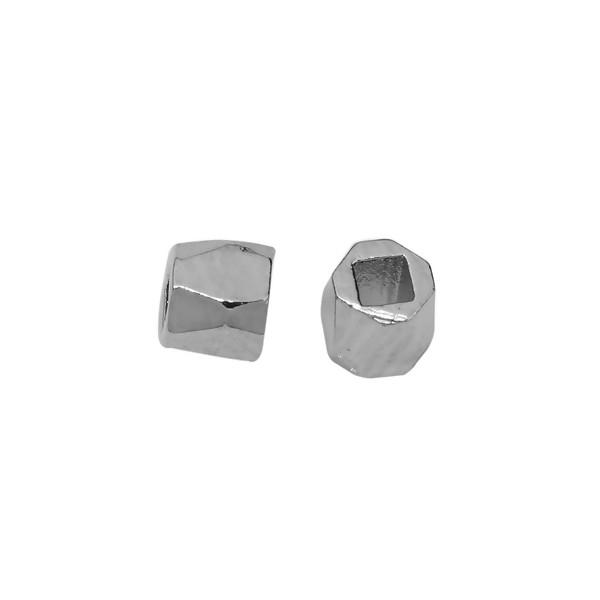 PS110108646 PAX 50 perles intercalaires Polygone Facetté 2mm cuivre couleur Argent Platine - Photo n°1
