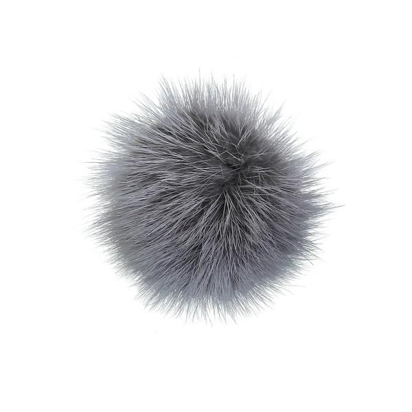 S1183958 PAX 1 pompon boule en FOURRURE TRES DOUCE Grise 50 mm - Photo n°1