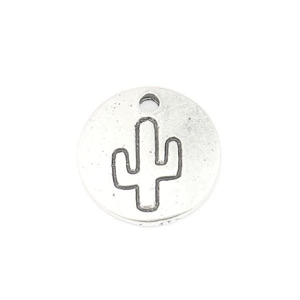 PS110256882 PAX 20 breloques pendentifs Cactus dans médaillon 12 mm métal couleur Argent Antique - Photo n°2
