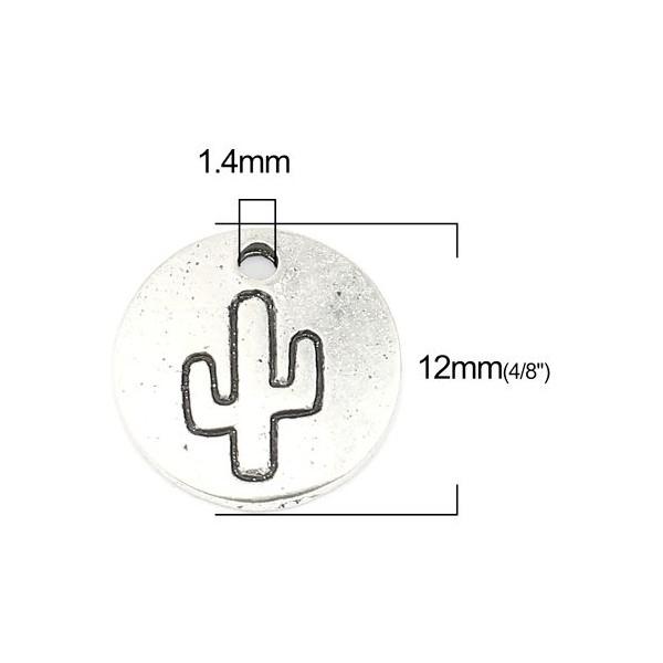 PS110256882 PAX 20 breloques pendentifs Cactus dans médaillon 12 mm métal couleur Argent Antique - Photo n°3