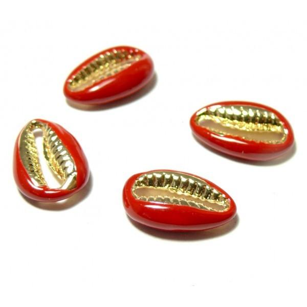 2 perles interclalaires émaillés Cauri résine emaille Rouge sur metal doré 14 par 4,5mm - Photo n°1