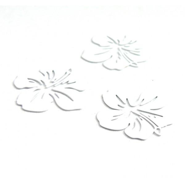AE11556 Lot de 4 Estampes pendentif filigrane Fleur d' Hibiscus 20 mm Blanc - Photo n°2