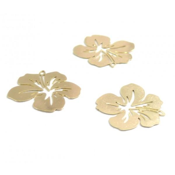 AE11556 Lot de 4 Estampes pendentif filigrane Fleur d' Hibiscus 20 mm Doré - Photo n°2