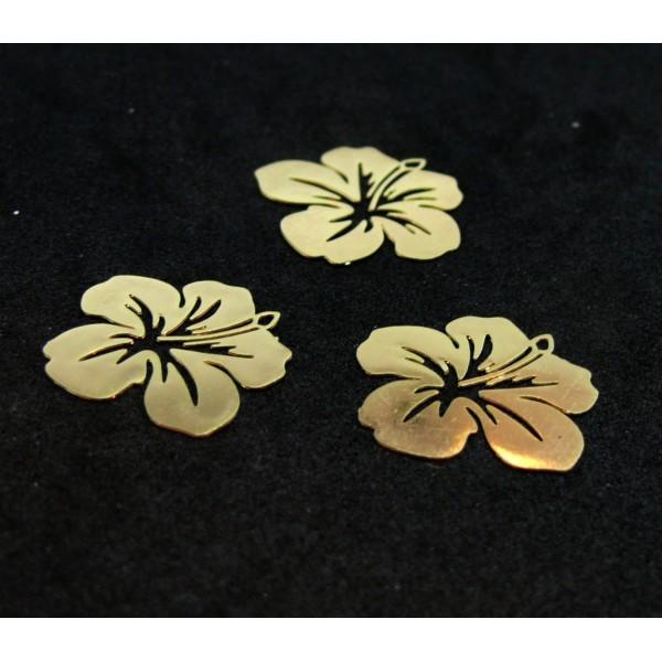 AE11556 Lot de 4 Estampes pendentif filigrane Fleur d' Hibiscus 20 mm Doré - Photo n°1