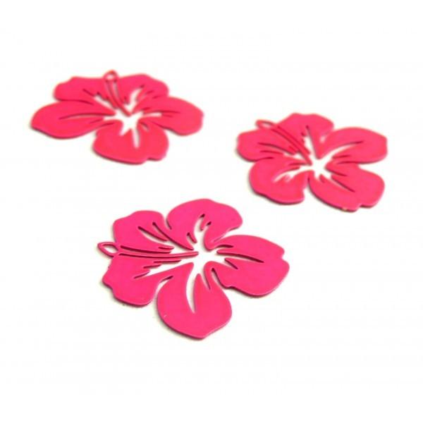 AE11556 Lot de 4 Estampes pendentif filigrane Fleur d' Hibiscus 20 mm Rose Flashy - Photo n°1