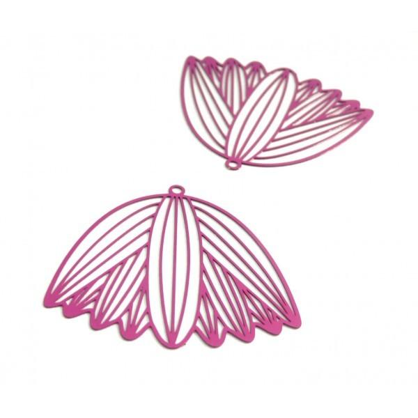 AE116212 Lot de 2 Estampes pendentif filigrane Fleur Papyrus 37 mm Violet Orchidée - Photo n°1