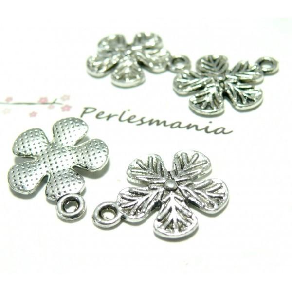 Lot de 20 pendentifs fleur métal couleur Argent Antique ref 2B5144 - Photo n°1