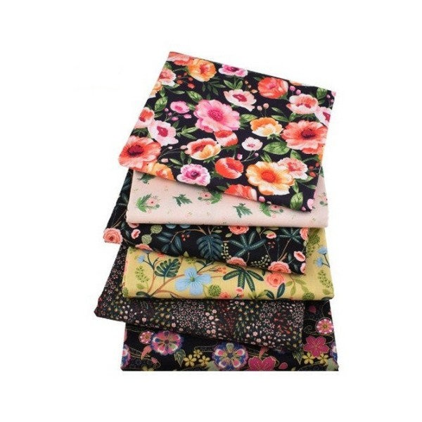6 coupons tissu patchwork coton couture 40 x 50 cm FLEURI IM 110 6 - Photo n°1