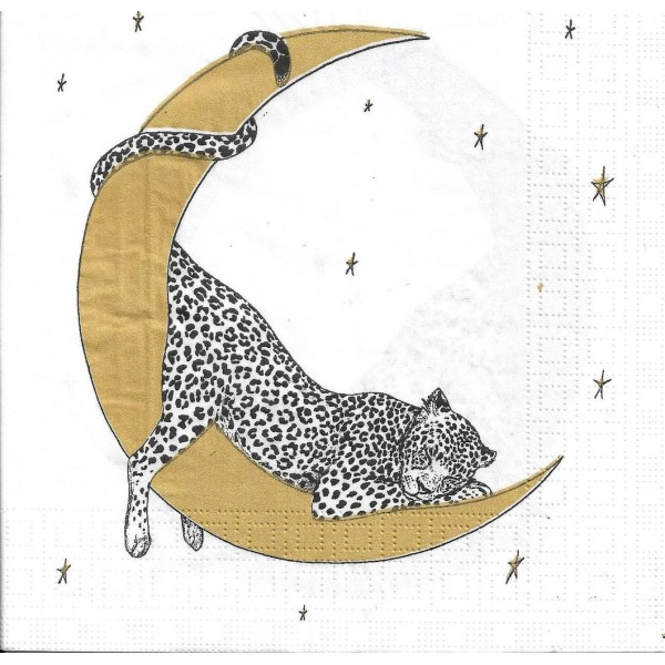 4 Serviettes en papier Léopard endormi sur la lune Format Lunch Decoupage Decopatch 133-3638 PPD - Photo n°1