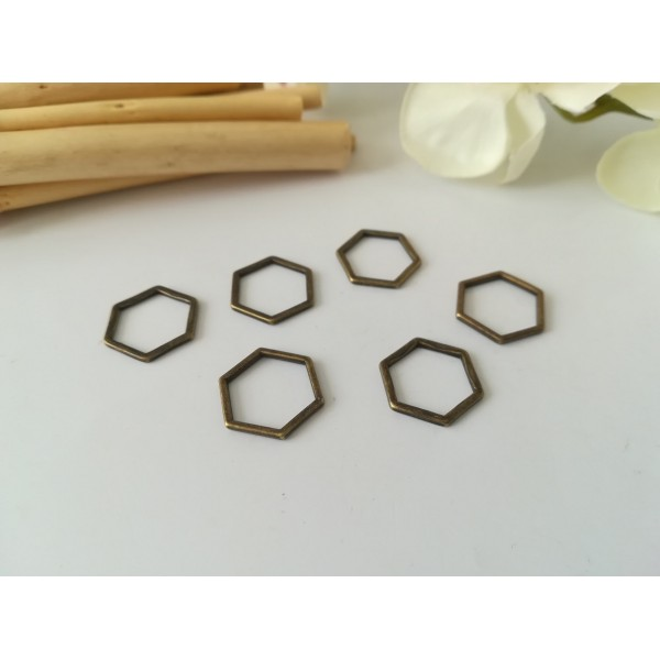 Connecteurs octogonal 17 x 15 mm bronze x 10 - Photo n°1