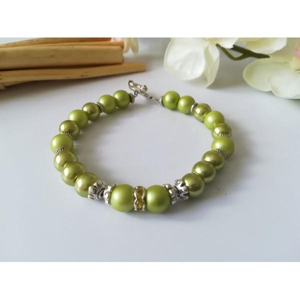 Kit bracelet perles en verre vert anis - Photo n°1