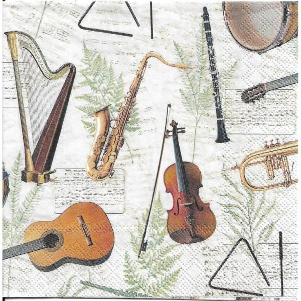 4 Serviettes en papier Musique Instruments Format Lunch Decoupage Decopatch 13315000 Ambiente - Photo n°1