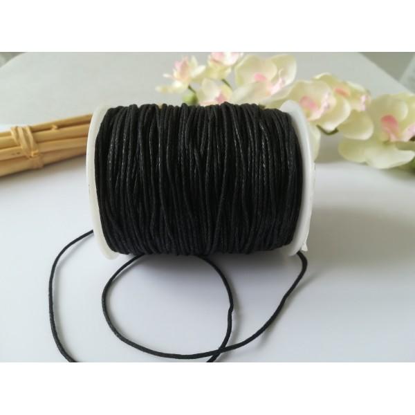 Fil coton ciré noir 1 mm x 2 m - Photo n°1