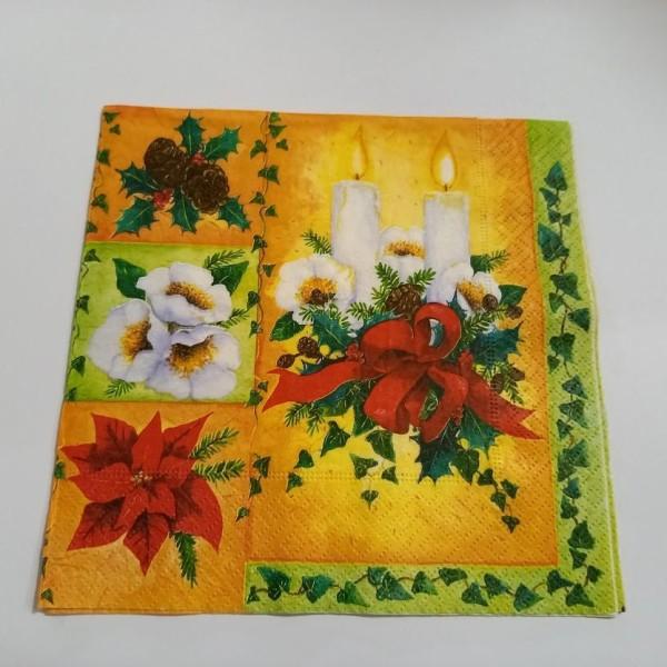 Serviette de noel,, fleur de noel sapin, houx - Photo n°1