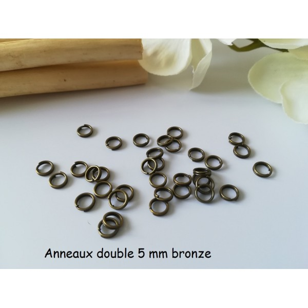 Anneaux doubles 5 mm bronze x 50 - Photo n°1