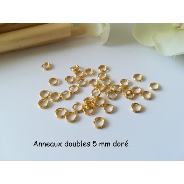 Anneaux doubles 5 mm doré x 50 - Photo n°1