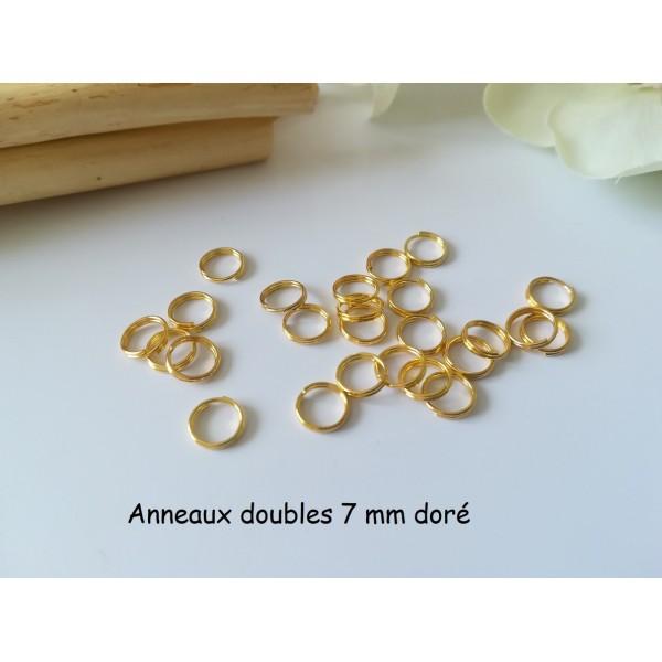 Anneaux doubles 7 mm doré x 50 - Photo n°1
