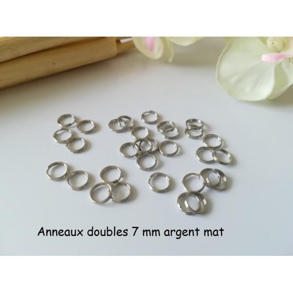 Anneaux doubles 7 mm argent mat x 100 - Photo n°1