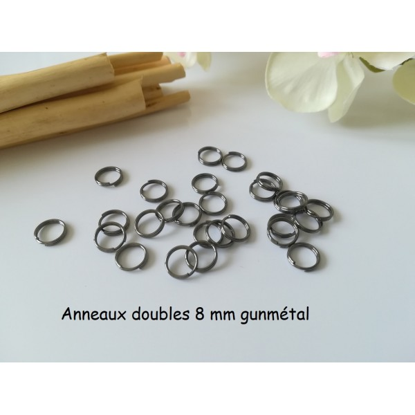 Anneaux doubles 8 mm gunmétal x 50 - Photo n°1