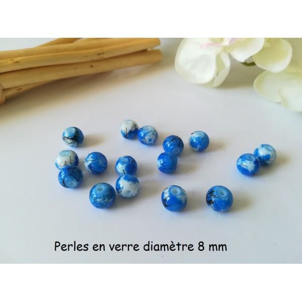 Perles en verre 8 mm blanc, bleu foncé et tréfilé noir x 20 - Photo n°1