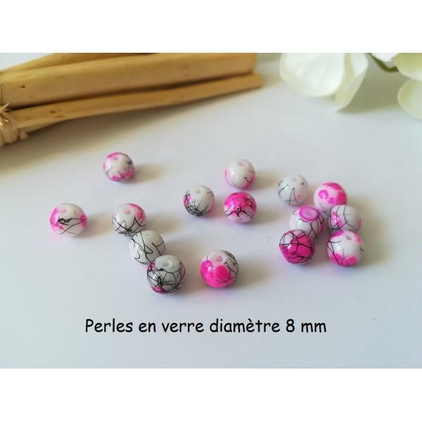Perles en verre 8 mm blanc, rose vif et tréfilé noir x 20 - Photo n°1