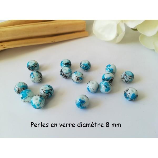 Perles en verre 8 mm blanc, bleu ciel et tréfilé noir x 20 - Photo n°1