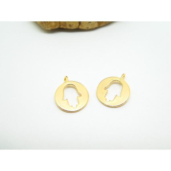 1 Breloque ronde Main de Fatma ajourée 13*11mm cuivre doré - Photo n°1