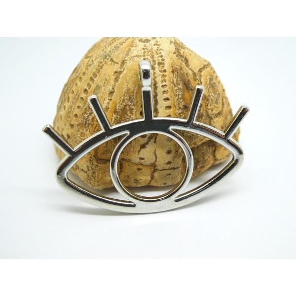 1 Grand pendentif Oeil porte-bohneur 43*33mm argenté - Photo n°1