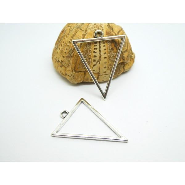 2 Pendentifs géométriques Triangle 35*27mm argent vieilli - Photo n°1